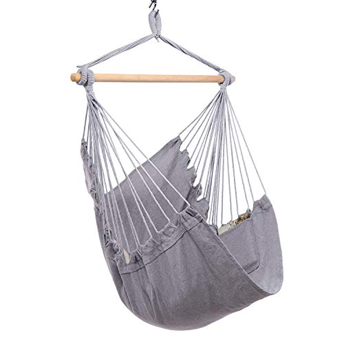 Y- STOP Hammock Chair Hanging Rope Swing - Max 330 Lbs...