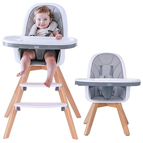 HAN-MM Baby High Chair with Removable Gray Tray, Wooden...