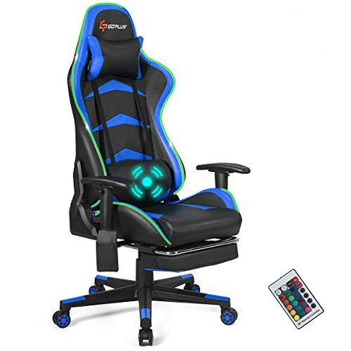 Goplus Massage Gaming Chair with LED Light, Reclining...
