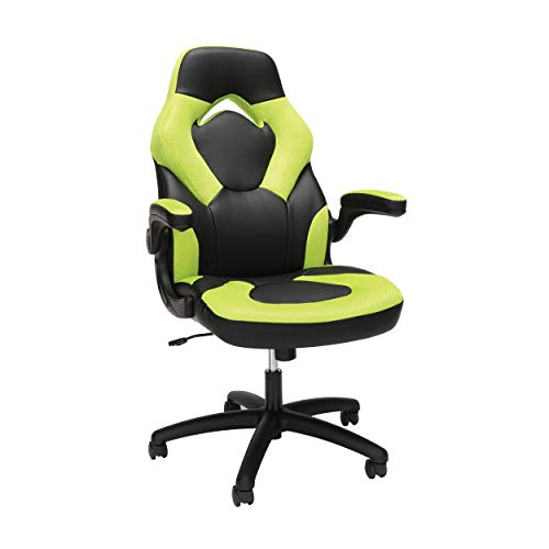 OFM Racing Style Bonded Leather Gaming Chair, in Green