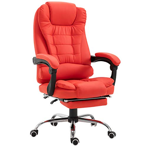 HOMCOM Reclining PU Leather Executive Home Office Chair...