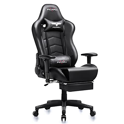 Ficmax Gaming Chair with Footrest Ergonomic PU Leather...