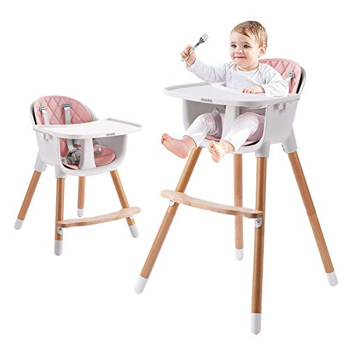 IKARE Wooden Natural Baby High Chair W/ Removable Tray...