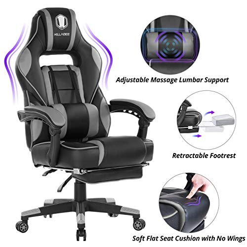 KILLABEE Massage Gaming Chair High Back PU Leather PC...