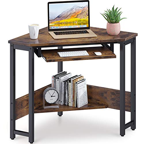 ODK Corner Desk, Triangle Computer Desk, Sturdy Steel...