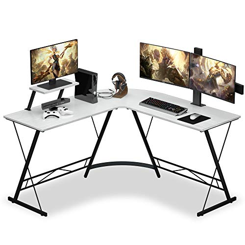 L Shaped Desk with Round Corner, 51' L Shaped Gaming...