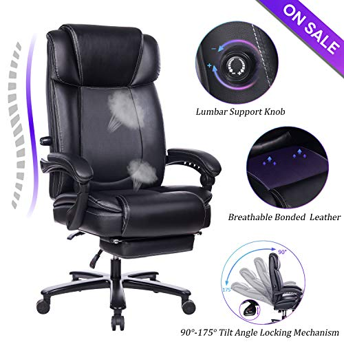 VANBOW Big and Tall Reclining Leather Office Chair -...